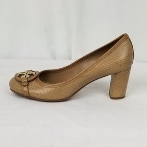 Tory Burch Beige Leather Chunky Heels Pumps size 8